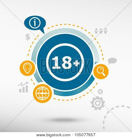 18 Plus Years Old Sign. Adults Content Icon And Creative Design Elements.