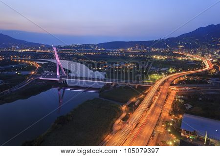 A Bridge And Nightscape City View At Beitou, Taipei, Taiwan