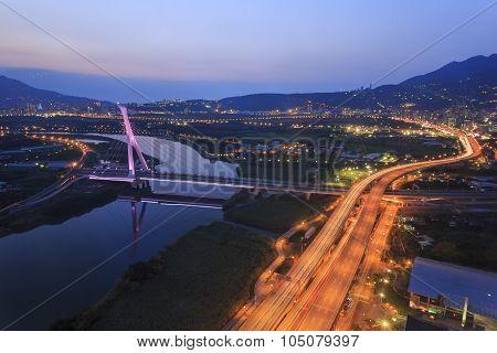 A Bridge And Nightscape City View At Beitou, Taipei, Taiwan
