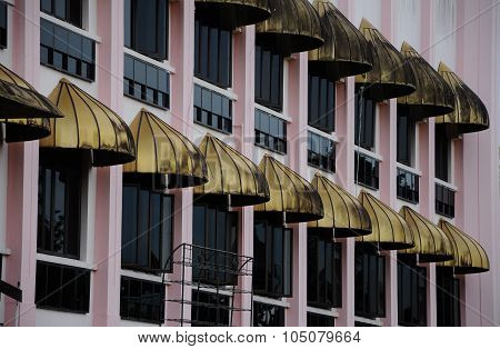 Series of window at Kuching Town Mosque a.k.a Masjid Bandaraya Kuching in Sarawak, Malaysia