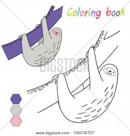 Coloring book sloth kids layout for game