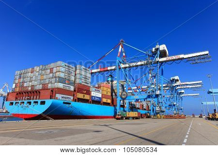 International Mega Container ship unloading containers