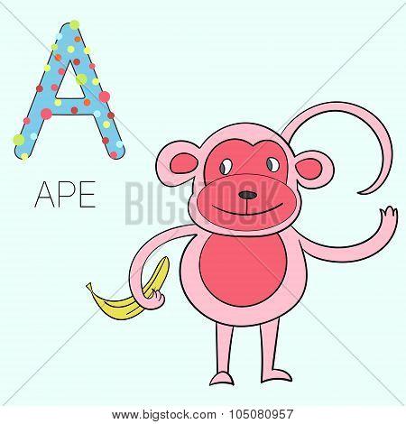 Alphabet letter A ape children vector illustration