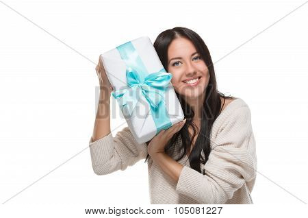 attractive girl holding a big box off gift