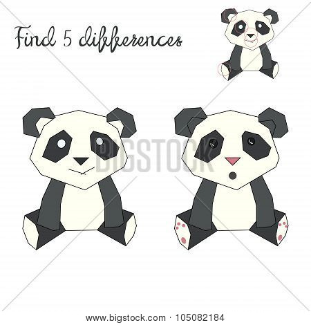 Find differences kids layout for game panda bear