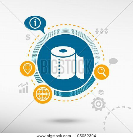 Toilet Paper Icon And Creative Design Elements
