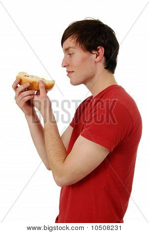 Man Eating Hot Dog