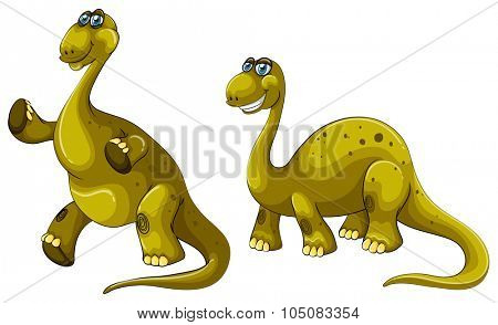 Green dinosaurs with long necks illustration