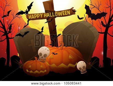 Halloween theme with graveyard and pumpkin illustration