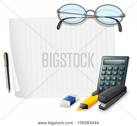 Blank paper and other stationaries illustration