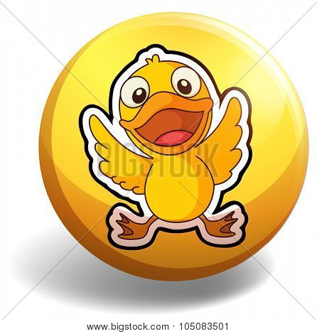 Little duckling on round badge illustration