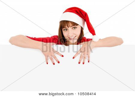 Santa Woman Pointing On Blank Sign Billboard
