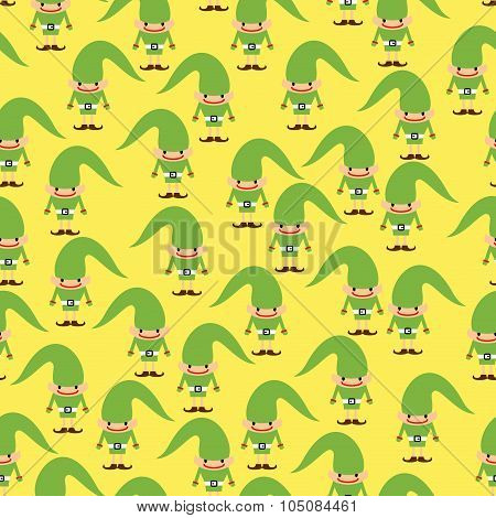 Elf Seamless Pattern. Christmas Background. Ornament Of Santa Helper For  New Year Holiday.