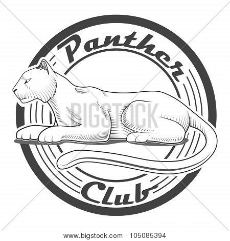 Panther club engraving style emblem vector