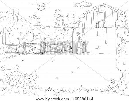 Cartoon farm color book black and white outline