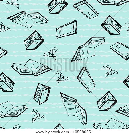 Seamless Patern With Books.