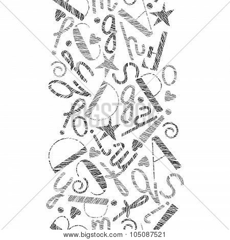 Vertical Seamless Pattern Of Letters