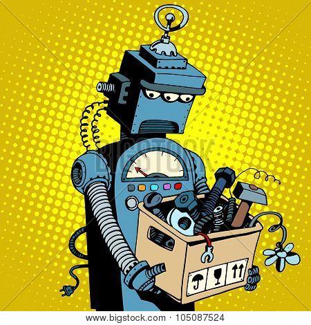 Sad retro robot leaves work