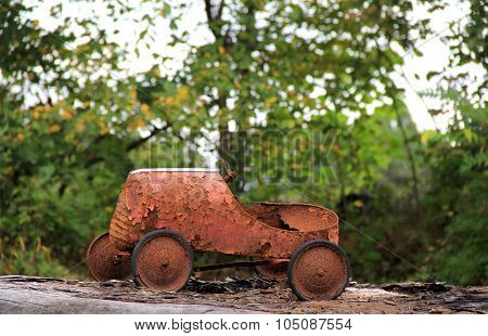 Nostalgic child's rusted car