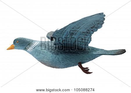 Plastic Pigeon Decoy Isolate On A White Background