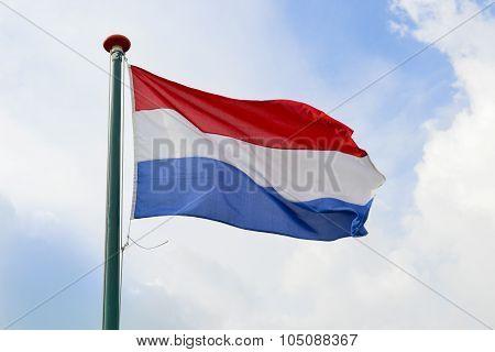 Dutch Flag Waving In The Air