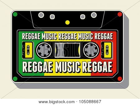 Reggae music poster. Retro typographical grunge vector illustration.