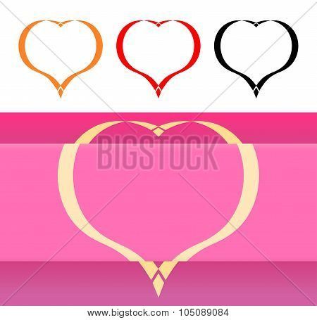 Valentine's Card And Icons With Hearts