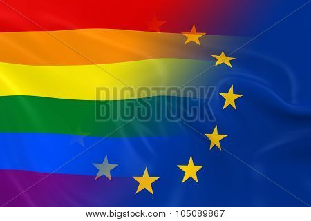 Gay Pride In Europe Concept Image - Gay Pride Rainbow Flag And The European Union Flag Fading Togeth