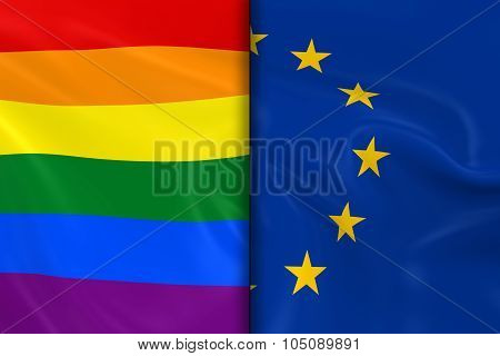 Flags Of Gay Pride And The Eu Split Down The Middle - 3D Render Of The Gay Pride Rainbow Flag And Th