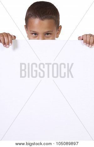 Cute Little Boy Holding A Blank Sign