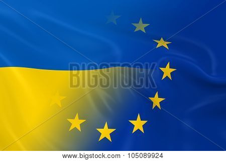 Ukrainian And European Relations Concept Image - Flags Of Ukraine And The European Union Fading Toge