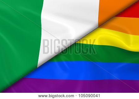 Flags Of Gay Pride And Ireland Divided Diagonally - 3D Render Of The Gay Pride Rainbow Flag And The