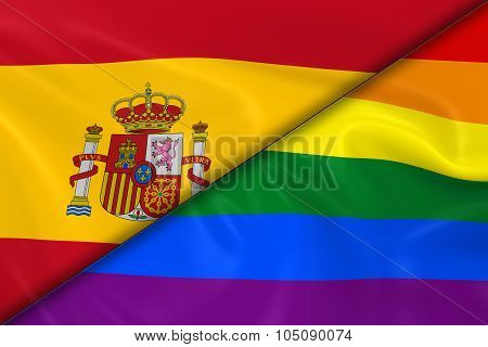 Flags Of Gay Pride And Spain Divided Diagonally - 3D Render Of The Gay Pride Rainbow Flag And The Sp