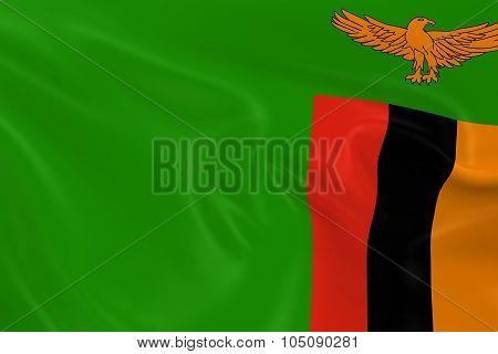 Waving Flag Of Zambia - 3D Render Of The Zambian Flag With Silky Texture