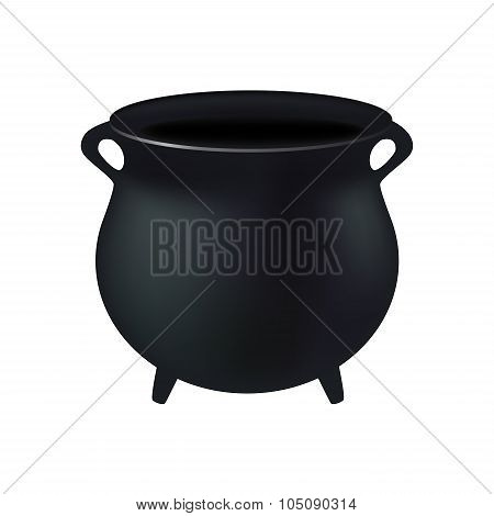 Empty Witch Cauldron,pot. Realistic Vector Illustration Isolated On White Background. Created With G
