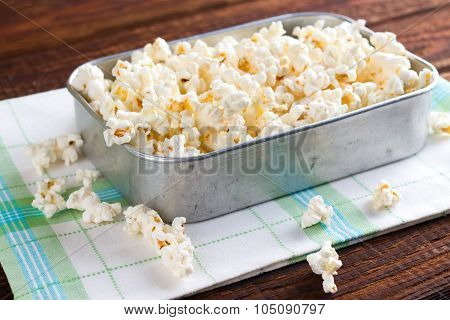 Rustic Aluminum Pan With Popcorn