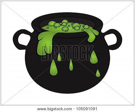 Witch Cauldron With Green Potion, Bubbling Witches Brew. Cartoon Vector Illustration Isolated On Whi