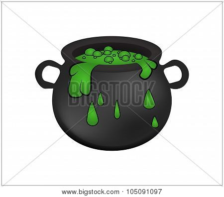 Witch Cauldron With Green Potion, Bubbling Witches Brew. Realistic Vector Illustration Isolated On W