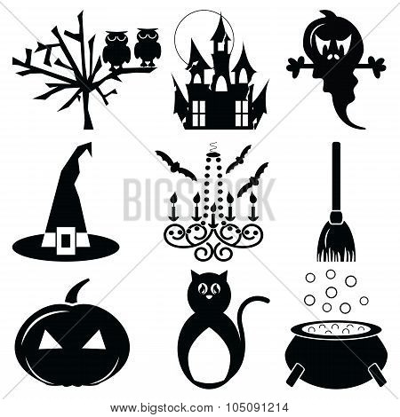 Halloween icons set 2 in black & white including owl,spooky tree, pumpkin, hunted castle ruins