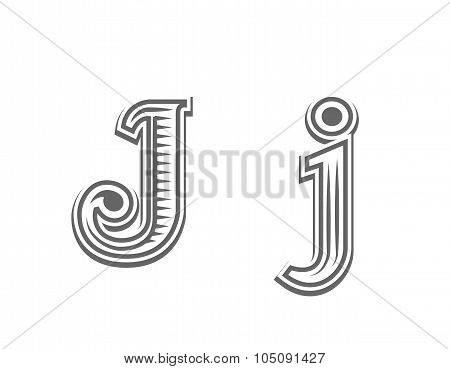 Font tattoo engraving letter J