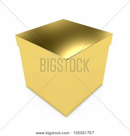 Gold Gift Box - 3D Render Of A Golden Box With Lid Isolated On White