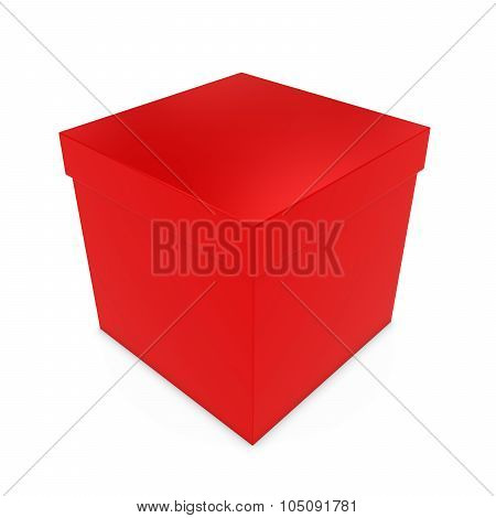 Blank Red Gift Box - 3D Render Of A Red Box With Lid Isolated On White