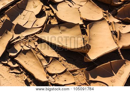 Close Up Cracks Dry Riverbed