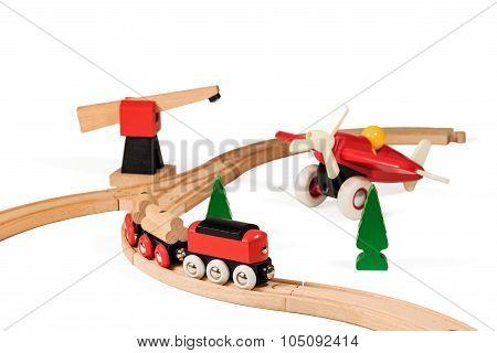 Children wooden railway and airplane