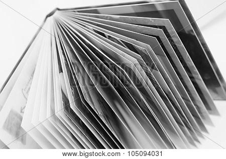 Open Book, Black And White Photo.