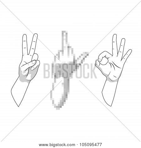 Censored prohibited offensive hand gestures