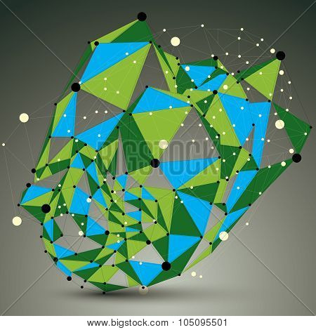 Complicated Abstract Green 3D Shape, Colorful Vector Digital Lattice Object. Technology Theme.