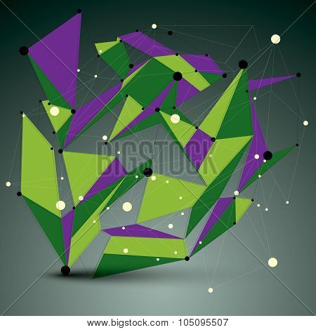 Contemporary Technology Colorful Stylish Futuristic Node Construction, Vector Abstract 3D Figure Wit