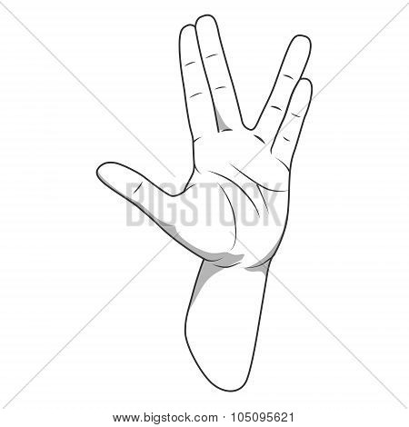 Vulcan salute hand gesture vector illustration
