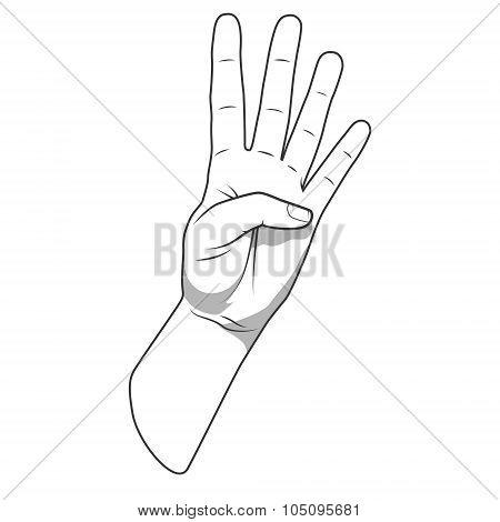 Palm hand number four gesture vector illustration